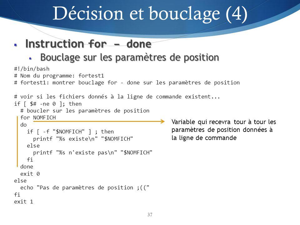 Décision et bouclage (4)
