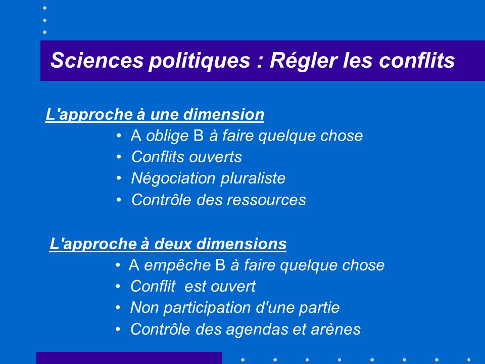 Sciences politiques : Régler les conflits