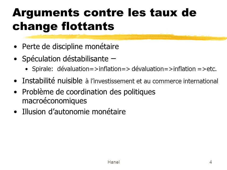Arguments contre les taux de change flottants