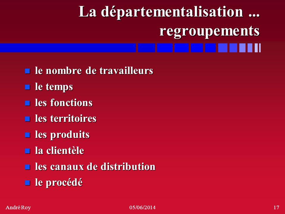 La départementalisation ... regroupements