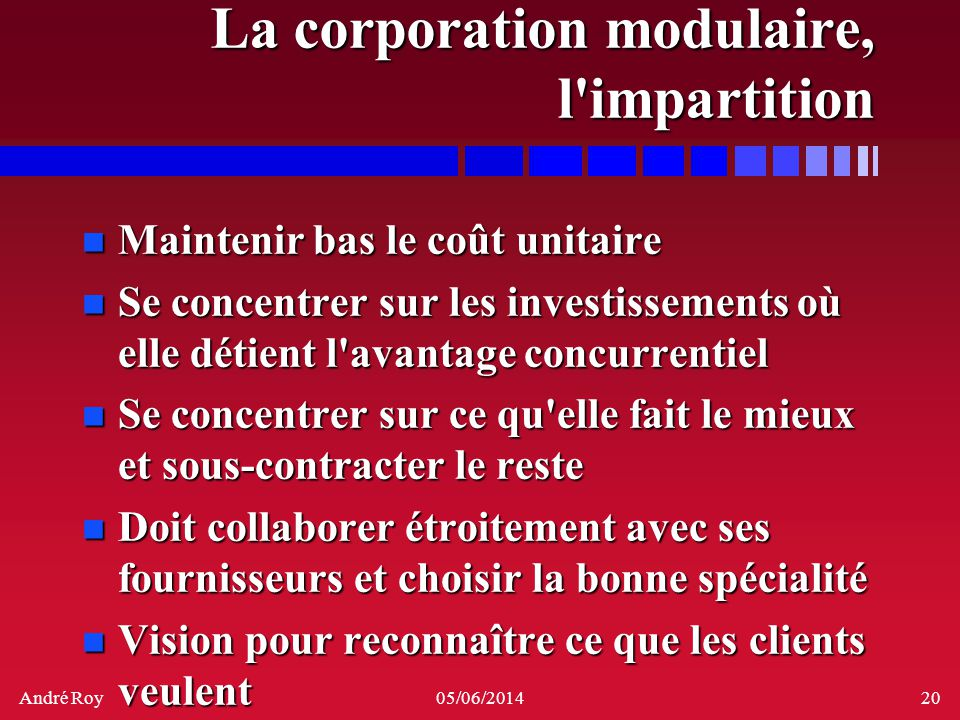 La corporation modulaire, l impartition