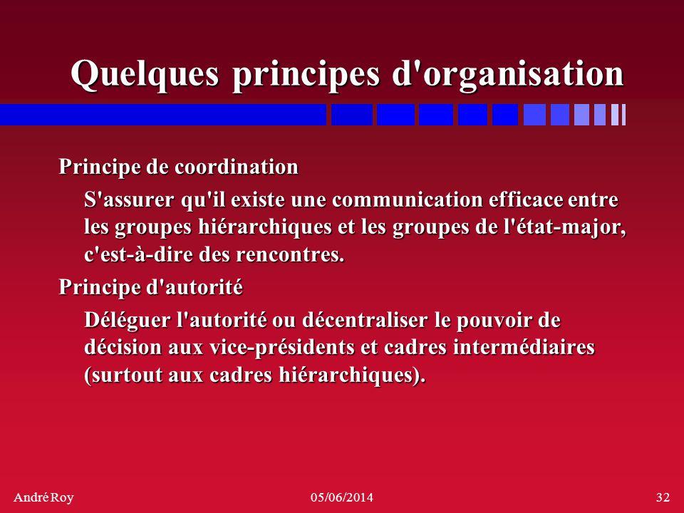Quelques principes d organisation