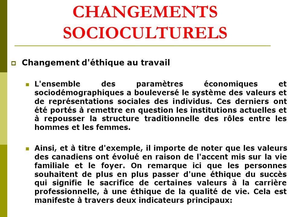 CHANGEMENTS SOCIOCULTURELS