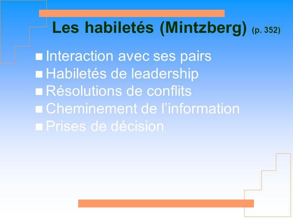 Les habiletés (Mintzberg) (p. 352)
