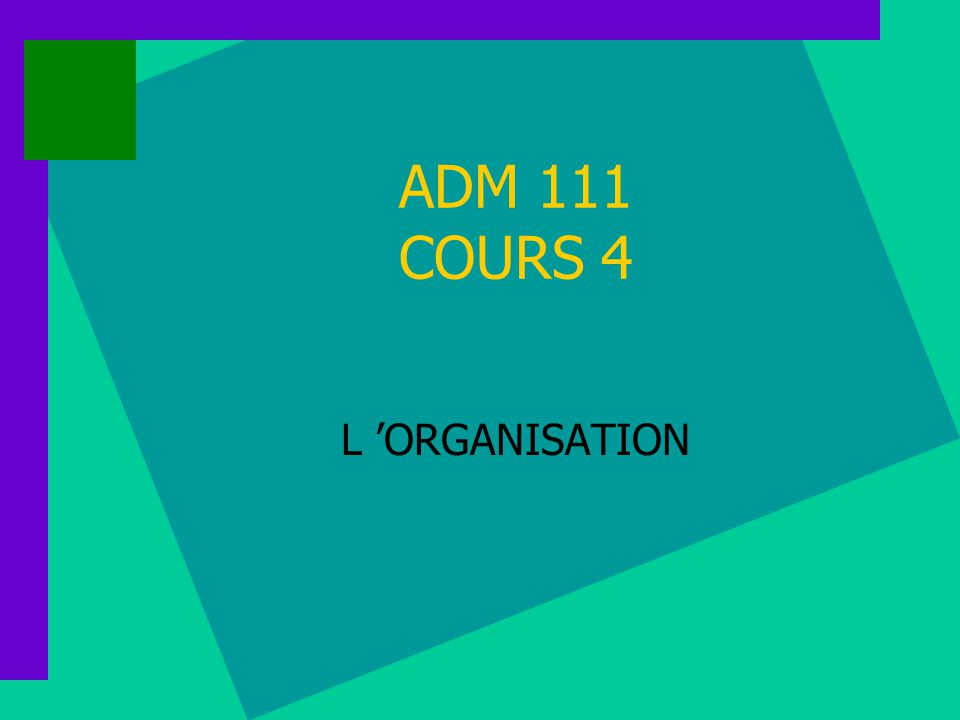 ADM 111 COURS 4 L 'ORGANISATION