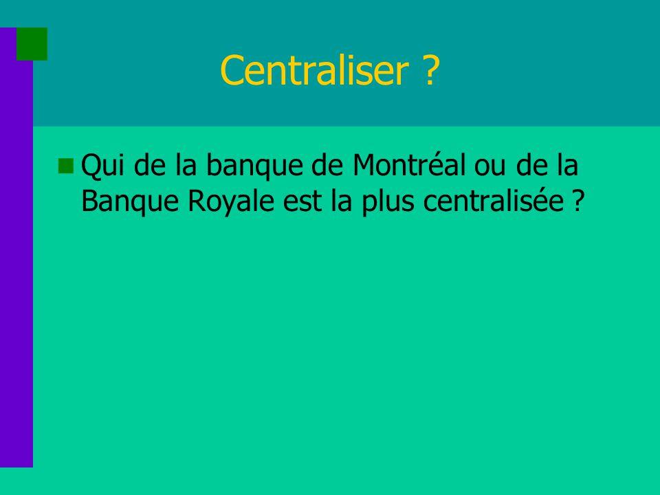 Centraliser Qui de la banque de Montréal ou de la Banque Royale est la plus centralisée