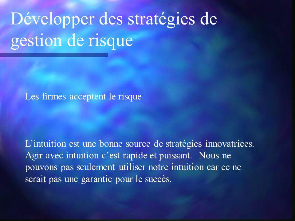 Développer des stratégies de gestion de risque