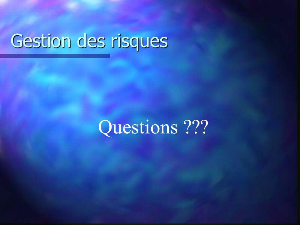 Gestion des risques Questions