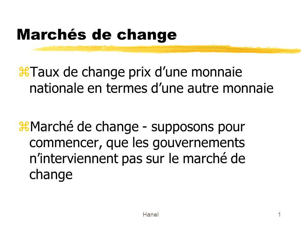Marchés de change Taux de change prix d'une monnaie nationale en termes d'une autre monnaie.