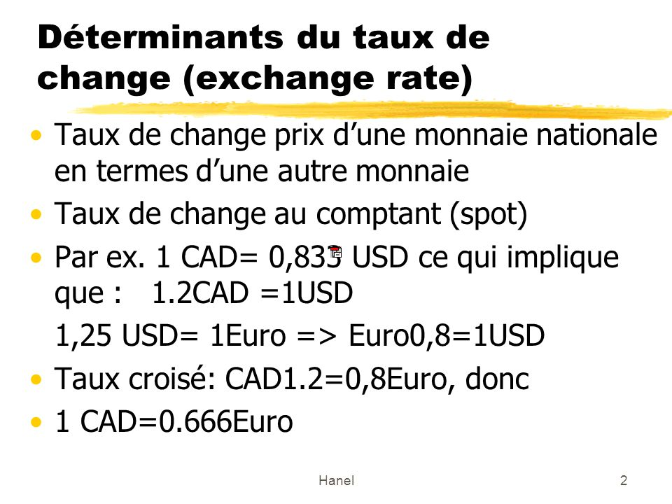 Déterminants du taux de change (exchange rate)