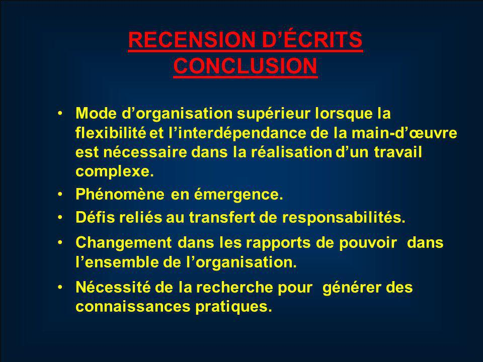 RECENSION D'ÉCRITS CONCLUSION