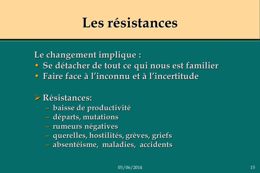 Les résistances Le changement implique :