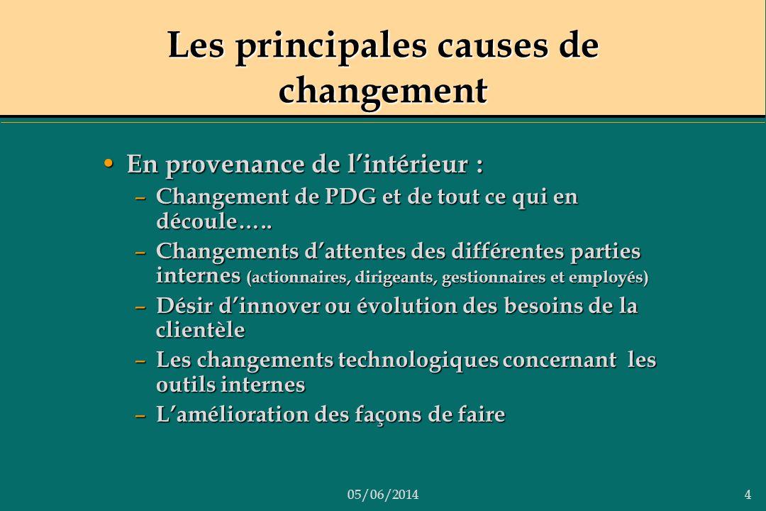Les principales causes de changement