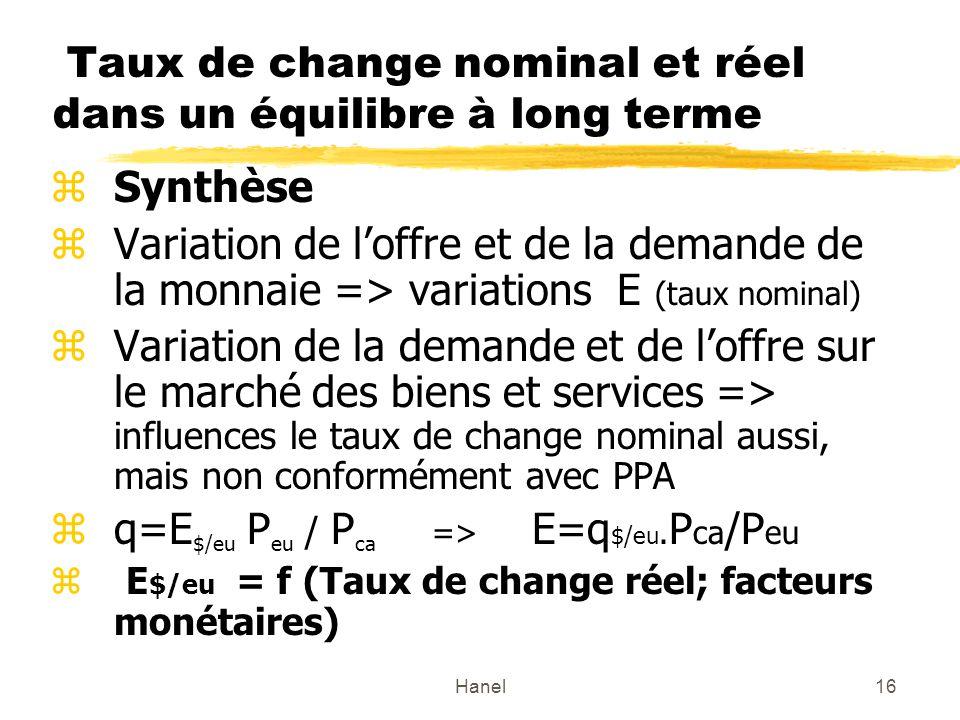 Taux de change nominal et réel dans un équilibre à long terme