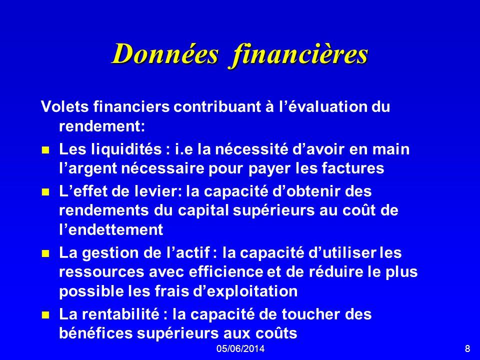 Données financières Volets financiers contribuant à l'évaluation du rendement: