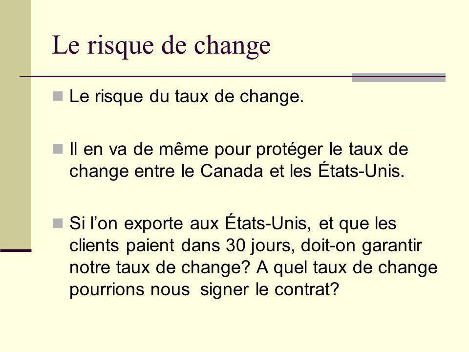 Le risque de change Le risque du taux de change.
