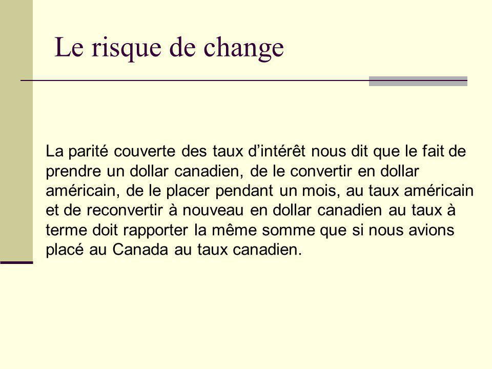 Le risque de change La parité couverte des taux d'intérêt nous dit que le fait de. prendre un dollar canadien, de le convertir en dollar.