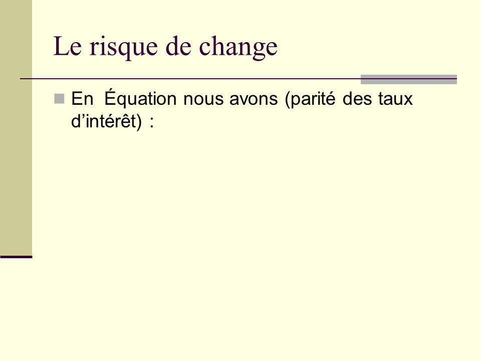 Le risque de change En Équation nous avons (parité des taux d'intérêt) :