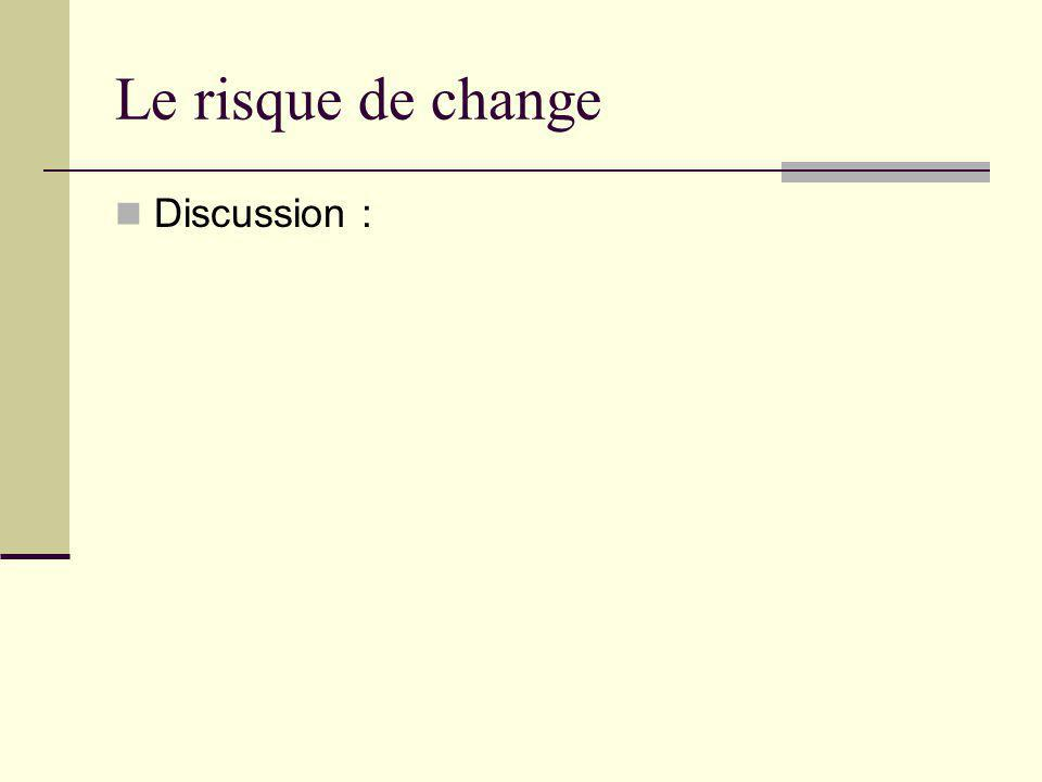 Le risque de change Discussion :
