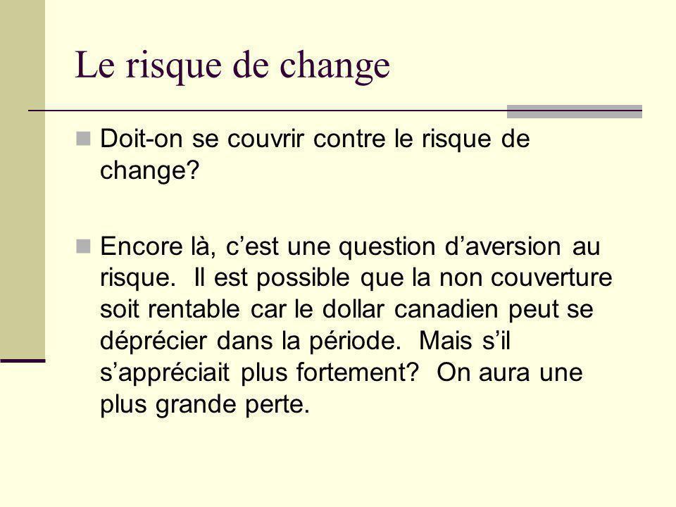 Le risque de change Doit-on se couvrir contre le risque de change