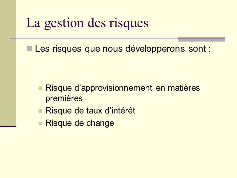 La gestion des risques Les risques que nous développerons sont :