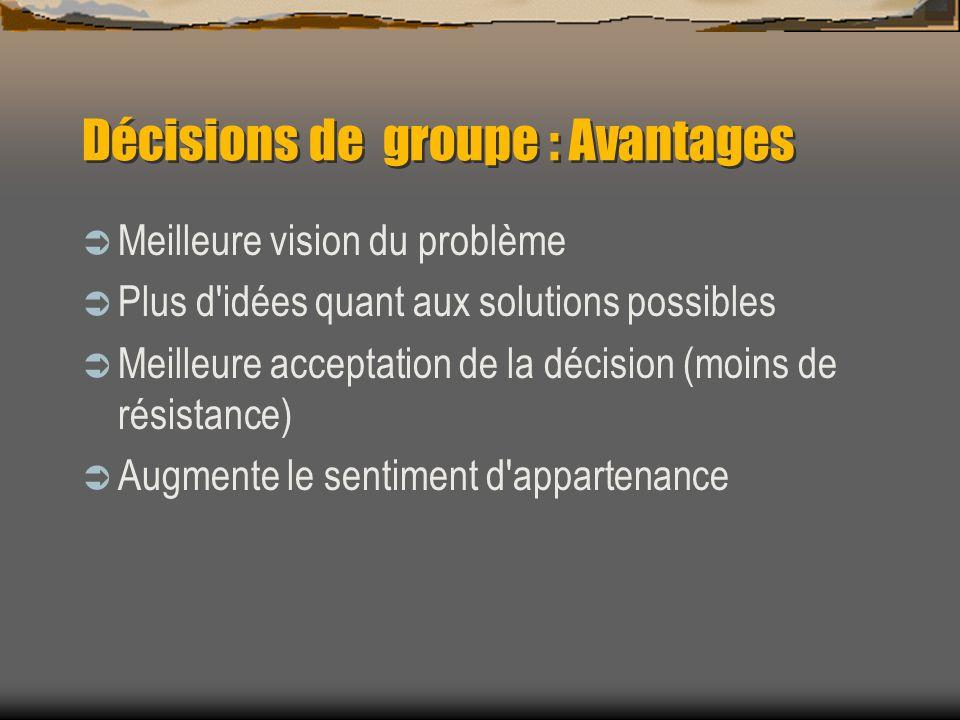 Décisions de groupe : Avantages