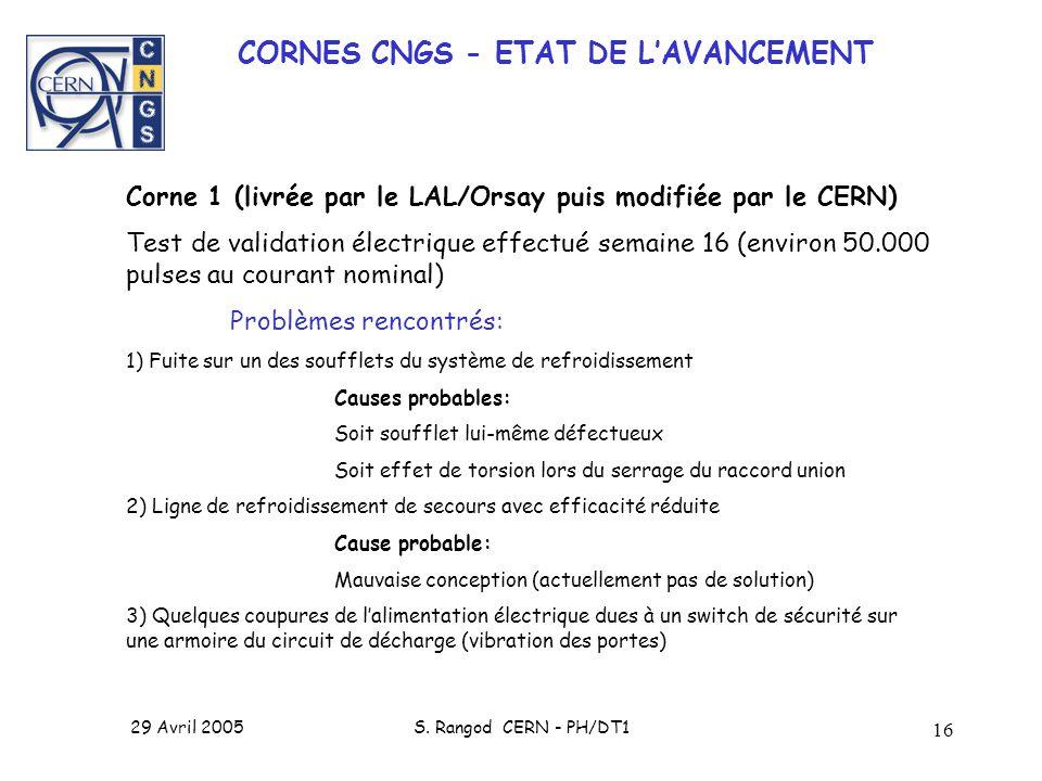 CORNES CNGS - ETAT DE L'AVANCEMENT