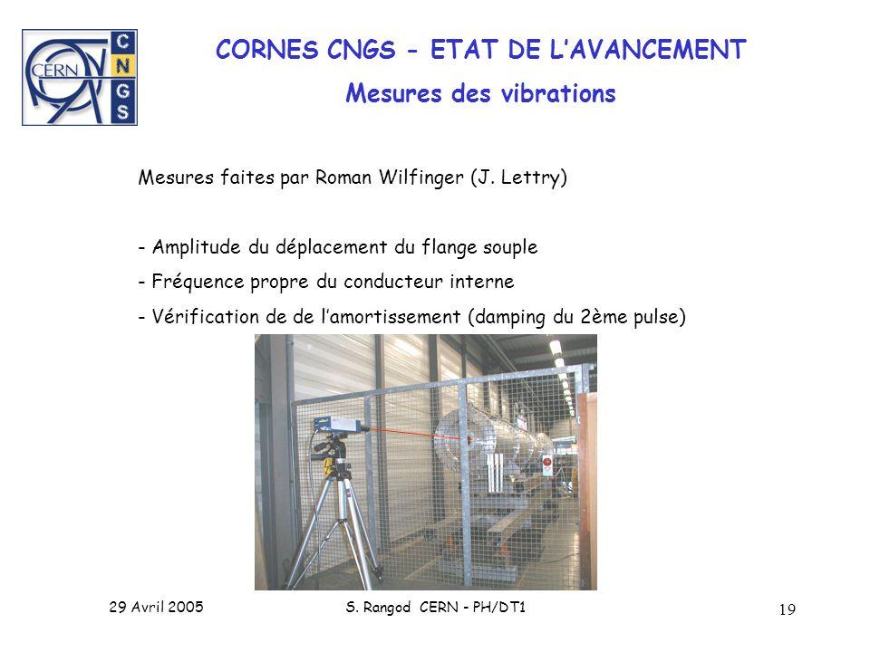 CORNES CNGS - ETAT DE L'AVANCEMENT Mesures des vibrations