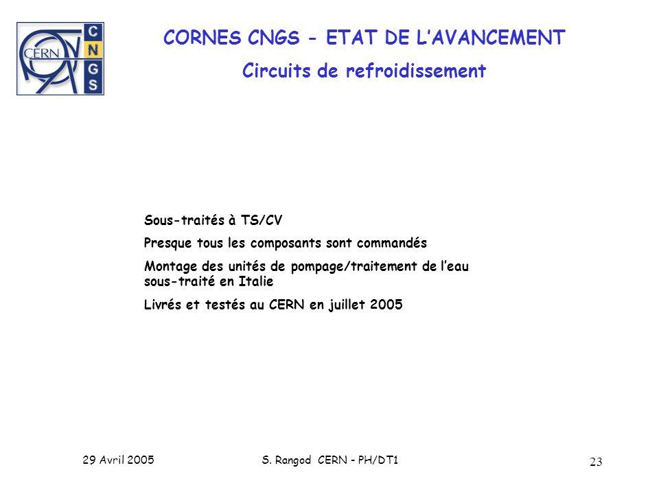 CORNES CNGS - ETAT DE L'AVANCEMENT Circuits de refroidissement