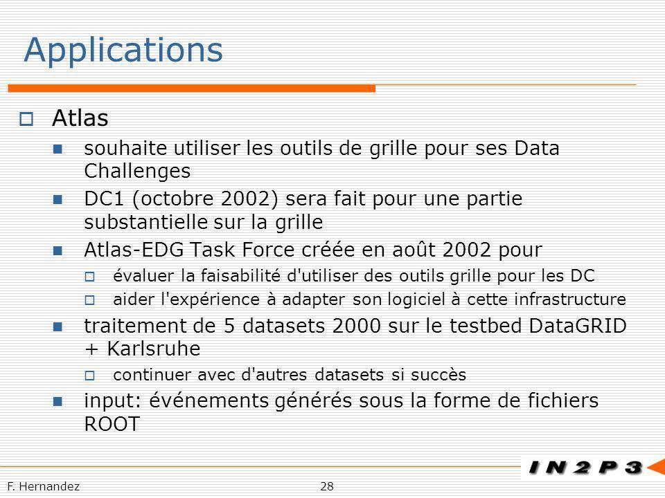 Applications Atlas. souhaite utiliser les outils de grille pour ses Data Challenges.