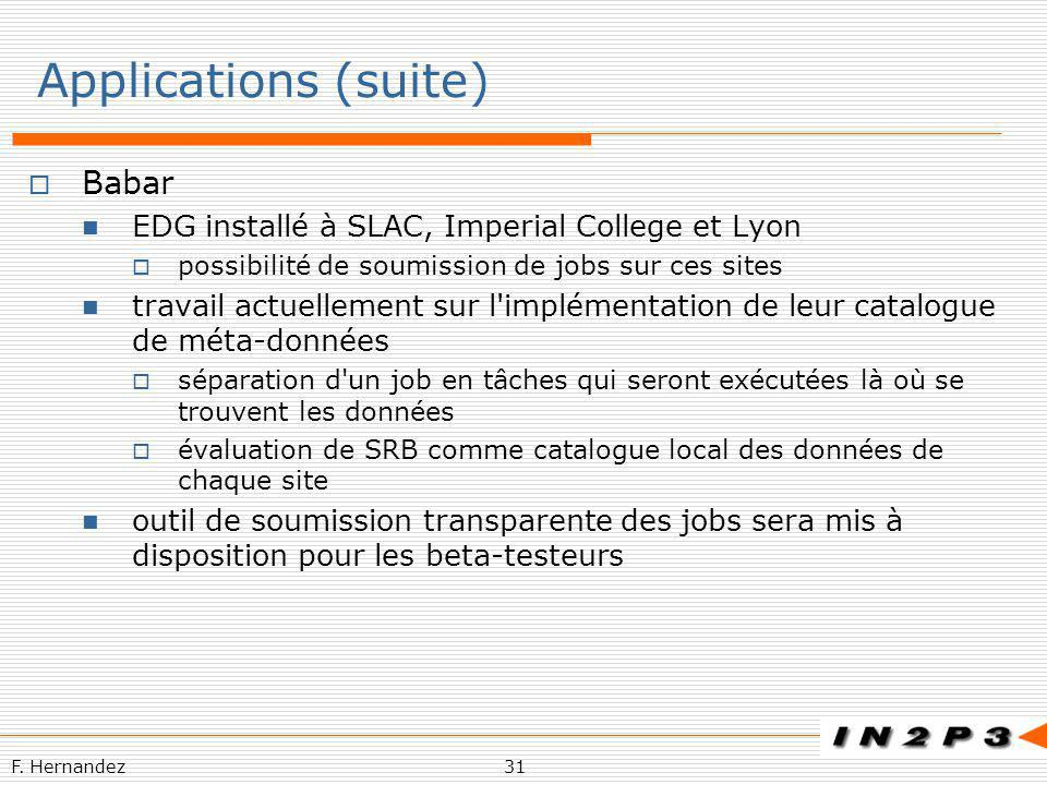 Applications (suite) Babar