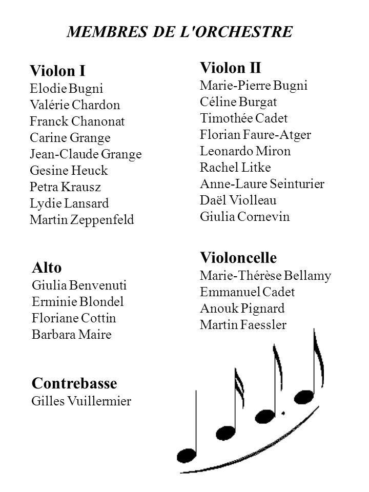 MEMBRES DE L ORCHESTRE Violon II Violon I Violoncelle Alto Contrebasse