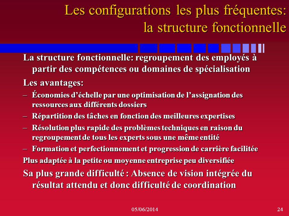 Les configurations les plus fréquentes: la structure fonctionnelle