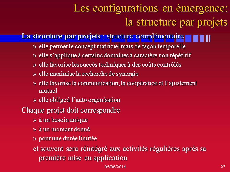 Les configurations en émergence: la structure par projets