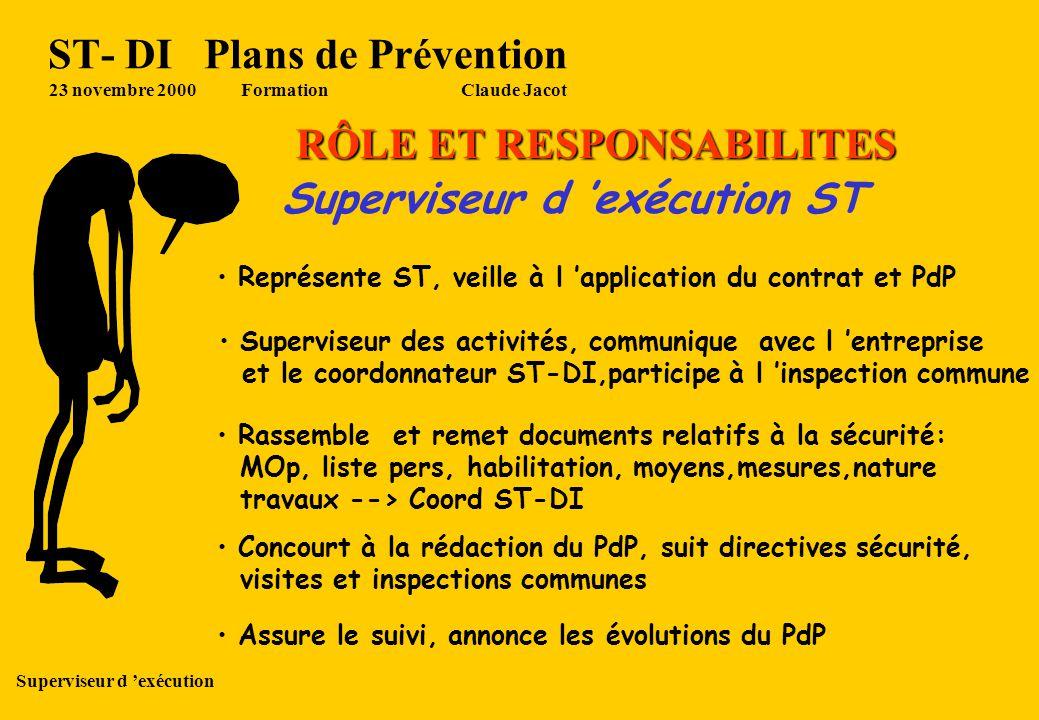 ST- DI Plans de Prévention 23 novembre 2000 Formation Claude Jacot