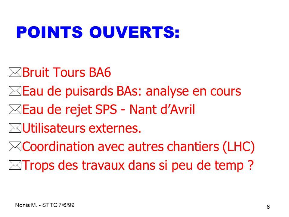 POINTS OUVERTS: Bruit Tours BA6 Eau de puisards BAs: analyse en cours