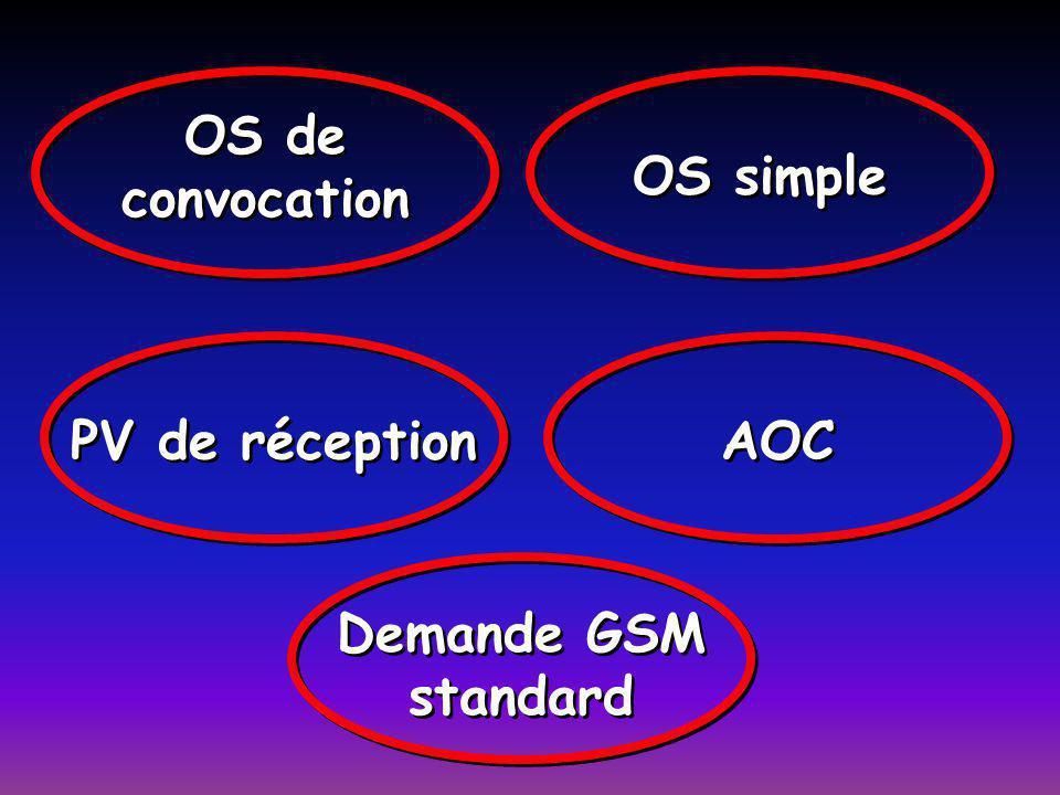 OS de convocation OS simple PV de réception AOC Demande GSM standard