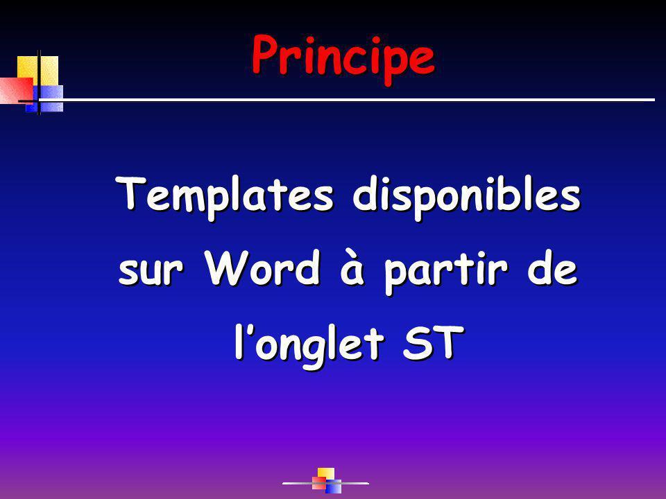 Templates disponibles sur Word à partir de l'onglet ST