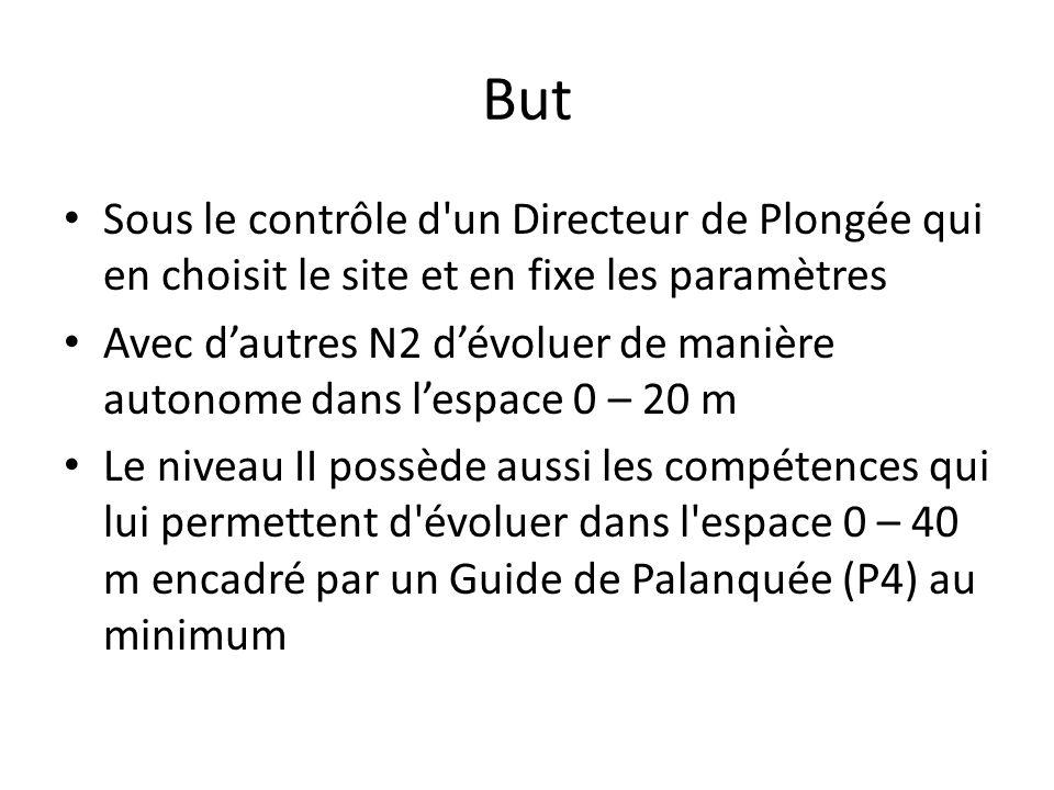 But Sous le contrôle d un Directeur de Plongée qui en choisit le site et en fixe les paramètres.