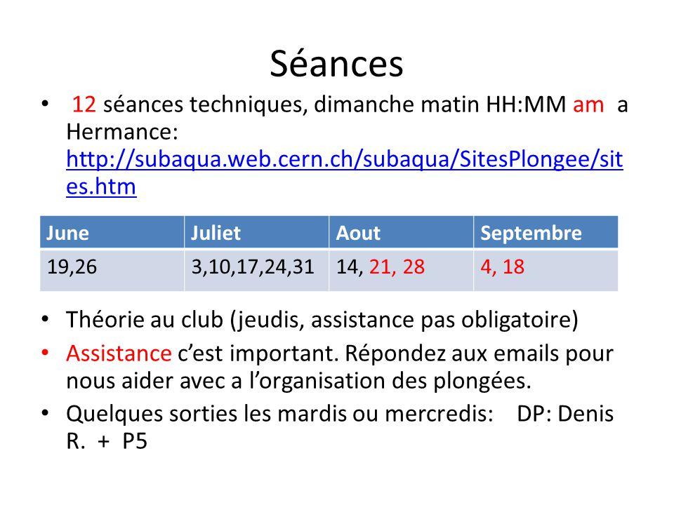 Séances 12 séances techniques, dimanche matin HH:MM am a Hermance: http://subaqua.web.cern.ch/subaqua/SitesPlongee/sites.htm.