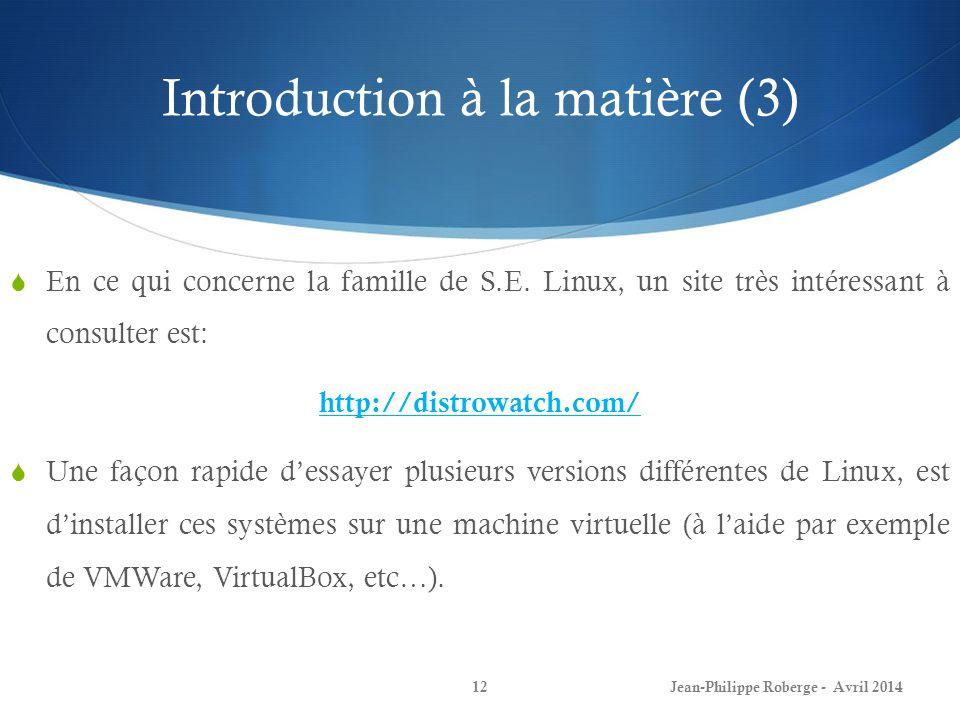 Introduction à la matière (3)