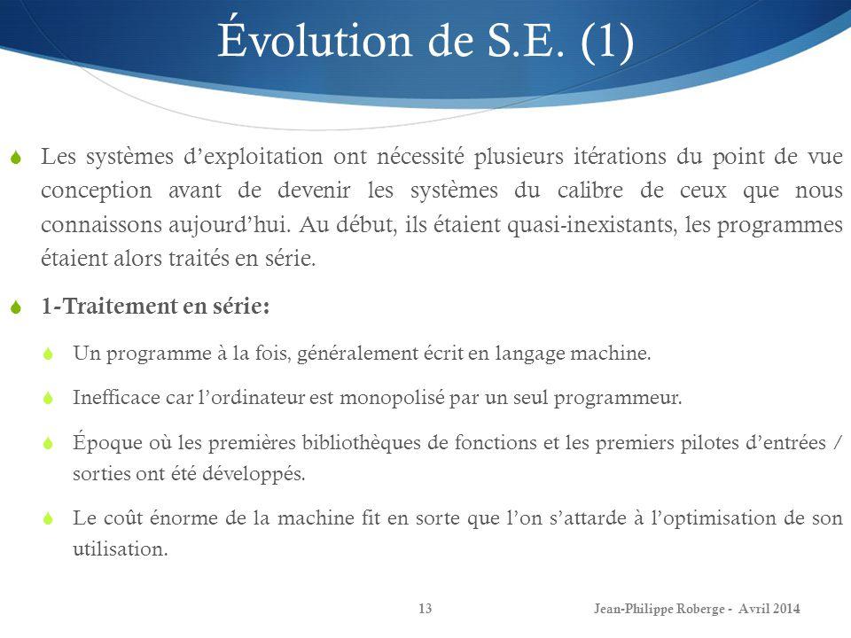 Évolution de S.E. (1)