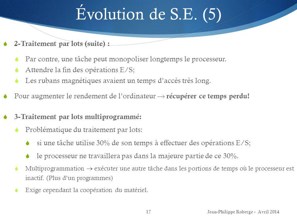 Évolution de S.E. (5) 2-Traitement par lots (suite) :