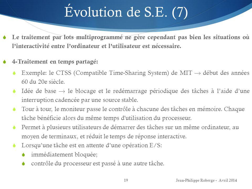 Évolution de S.E. (7)