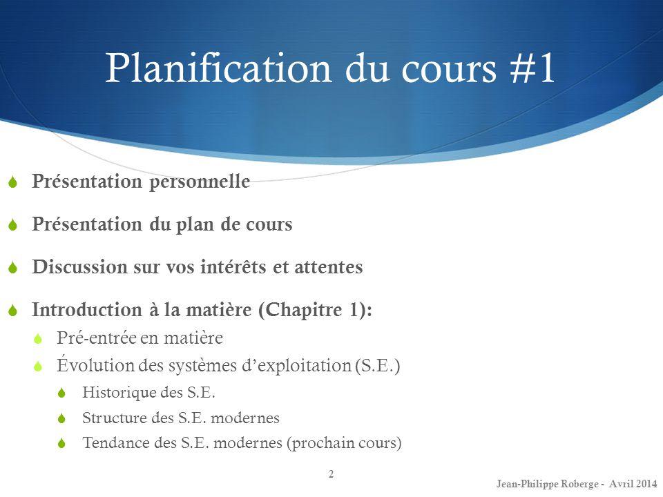 Planification du cours #1