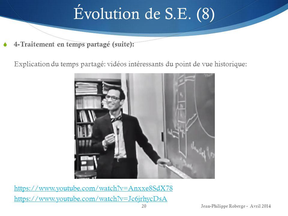Évolution de S.E. (8) 4-Traitement en temps partagé (suite):