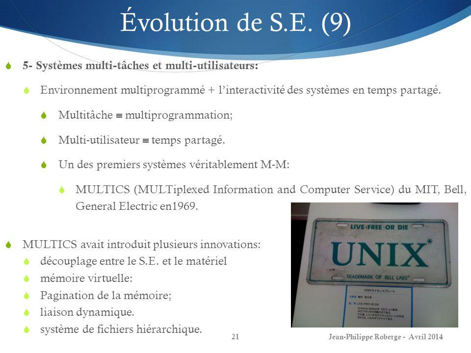 Évolution de S.E. (9) 5- Systèmes multi-tâches et multi-utilisateurs: