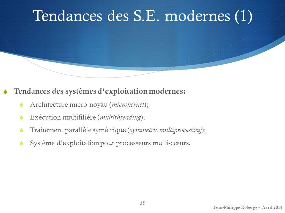 Tendances des S.E. modernes (1)