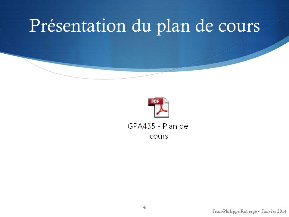 Présentation du plan de cours