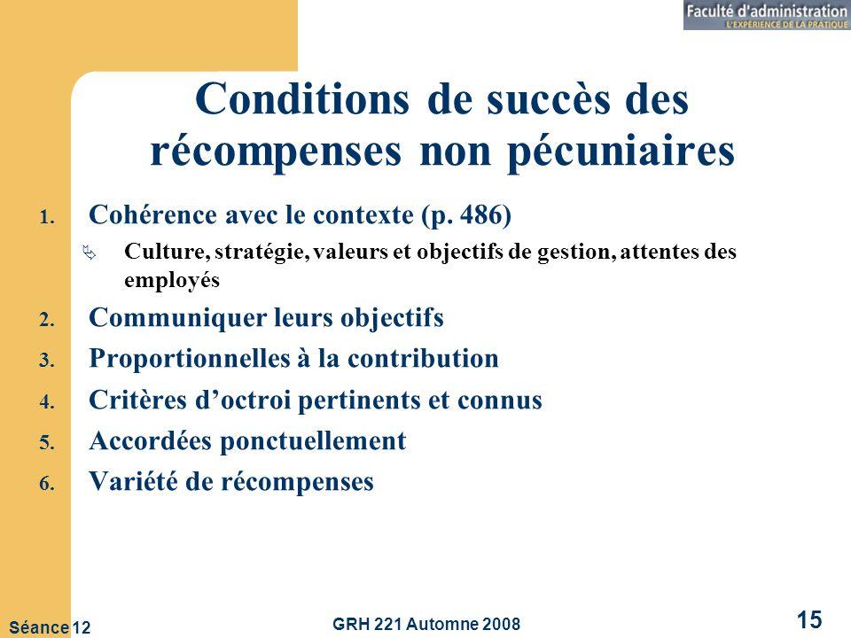 Conditions de succès des récompenses non pécuniaires